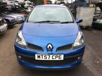 2007 Renault Clio Dynamique Turbo 100 3door hatchback Blue 1.2L BREAKING FOR SPARES
