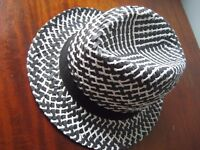 Fedora, Made in Italy, Black & White Summer Hat