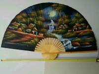 Hand painted silk and bamboo fan