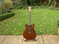 Washburn HB32DM Hollow-body semi-acoustic electric guitar with quality gig bag