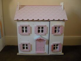 Girls Wooden Dolls House with Furniture | Kids Childrens Indoor Toy