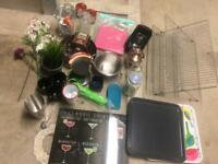 Kitchen Cleanout: Trays, Mugs, Dish Rack etc