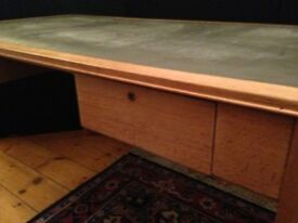 Vintage British Military Desk w/ drawers & green leather top, very solid and in great condition