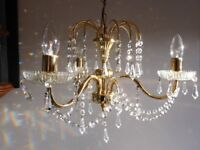 Swarovski Clear Cut Crystal Chandelier with hollow Polished Brass - John Lewis. Stunning VGC