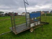 Mobile Harrington sheep handling system trailer with turnover crate farm livestock tractor