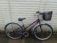 ladies ammaco hybrid bike ,basket, new lights, d-lock serviced ready to ride free delivery