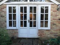 Wooden French Doors with Side Casement windows
