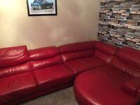 LARGE red leather corner sofa