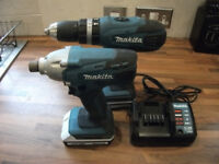 18v Makita Cordless Combi Set Drill + Impact Gun, 2 Battery + Charger Cost £220! GREAT CONDITION!