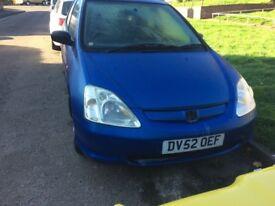 2002 Honda Civic Vision 5dr hatchback 1.4 Petrol blue BREAKING FOR SPARES
