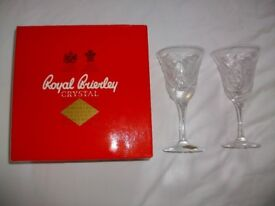 3 X Sets of Two Royal Brierley Lead Crystal Fuchsia Pattern Large Wine Glasses Boxed