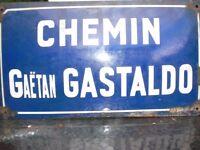ORIGINAL VINTAGE ENAMEL BLUE FRENCH STREET SIGN CHEMIN-GAETAN GASTALDO 45cmx25cm
