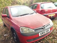 2001 Vauxhall Corsa C 1.0 12v comfort 5dr red z 547 97u BREAKING FOR SPARES