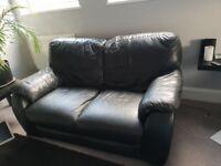 Black modern leather 2 seater