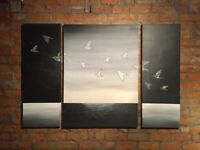 HUGE & UNIQUE Black and Grey Flying Birds Feature Canvas Hand-Painted