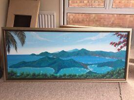 Large framed canvas of Antigua landscape
