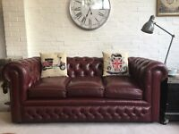 Burgundy Chesterfield sofa. 2nd one available. Can deliver