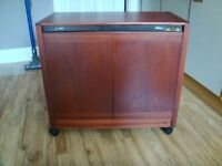 Philips Hostess Trolley, Teak wood finish. Hot cupboard and heated glass top.