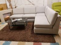 QUALITY DESIGNER EX DISPLAY GREY 5 SEATER CORNER SOFA FABRIC- BEAUTIFUL SETTE - WE DELIVER