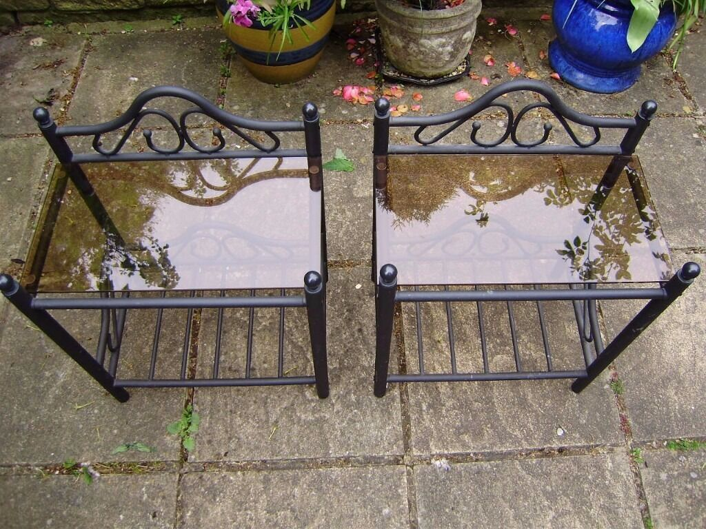 Pair of tablesplant stands, metal base, beautiful design, perfect conditionin Lower Earley, BerkshireGumtree - Pair of tables / plant stands or lamp stands, perfect condition, wrought iron base, suitable for conservatory or living room.Size W45xH52xD30 cm. £35 for the pair. The table lamps by Valsan are also for sale £35 for the pair. Can help with delivery...