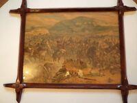Battle Scene Print ( possibly Rorkes Drift) in lovely antique frame.