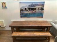 Stunning oak wooden table with 2 benches