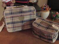 tartan travel bag and toilet bag