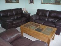 Sofa - Leather two seaters x 2 and 1 armchair