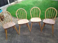 Ercol 1970's dining chairs x 4