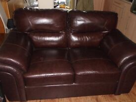 1 x 2 seater and 1 x 3 seater brown leather couches