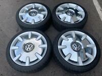 "VW 18"" 5x112 Alloys Silver Chrome Disc Wheels Golf Caddy Jetta Passat Touran 225/40/18 Tyres"