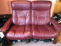 Stressless 2 Seater High Back Reclining Leather Burgundy Sofa