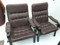 Vintage retro Danish mid century armchairs faux leather vegan friendly pair x 2