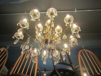 CHANDELIER BRASS & GLASS 18 ARM ORIGINAL REWIRED & WORKING