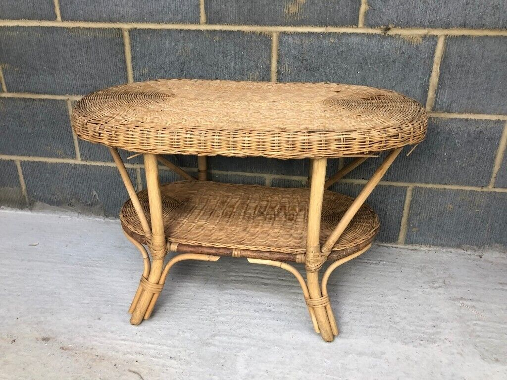 Vintage 1970s Brown Wicker Oval Coffee Table With Shelf In Colchester Essex Gumtree