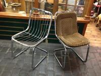VINTAGE RETRO MID CENTURY 1960s/1970s ITALIAN CHROME INDUSTRIAL PAIR OF DINING OFFICE CHAIRS