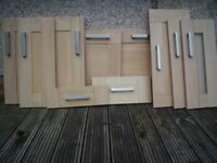 Howdens's Light Oak Kitchen Cupboard Doors and Drawer Fronts with Handles