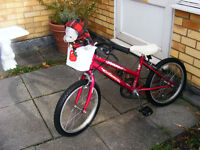 "GIRLS 18"" WHEEL BIKE WITH GEARS IN GREAT WORKING ORDER AGE 5-7+"