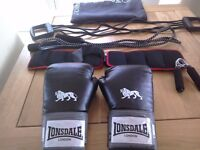 Fitness set,boxing gloves ankle weights, skipping rope, chest expander