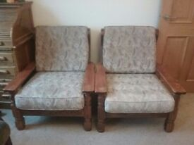 2 solid oak armchairs FREE collection only