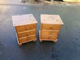 Pine bedside table cabinets