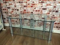 High quality large glass TV stand, table, shelf, 105cm wide, very strong