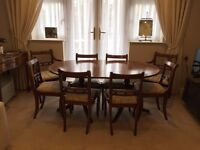 Mid century regency style vintage extendable dining table and 8 chairs