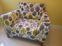 Pair of Modern Armchairs in Eye Catching Fabric Design