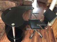 Black glass computer table and chair