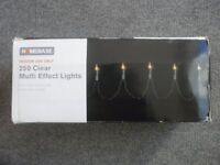 homebase indoor christmas lights , 250 clear multi-effect approx 38m long