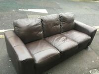 Brown Faux Leather Couch For Sale - Great condition