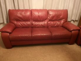 3 seater tough red leather sofa.