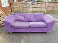 Purple Three Seat Sofa