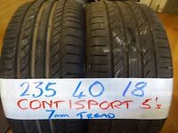 MATCHING SET 235 40 18 CONTISPORT 5s £80 PAIR £150 SET OF 4 SUP & FITD (loads more av} TXT SIZE TO